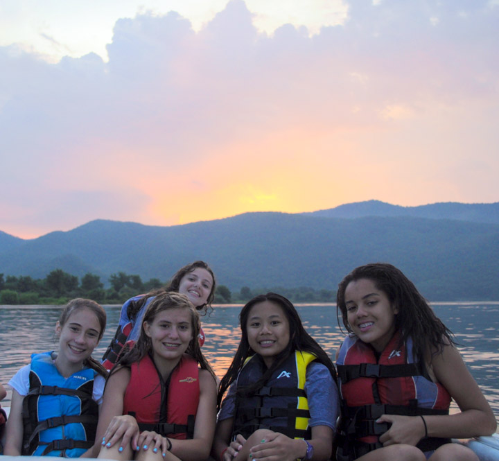 girl-campers-sunset